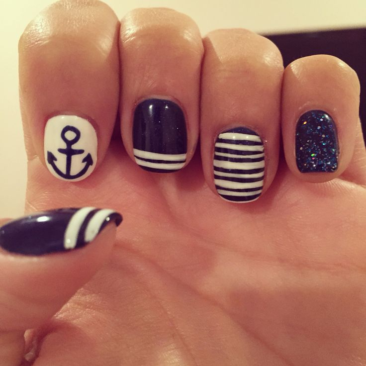 Nautical nails from Signature Day Spa in Oxford Valley Mall. Nail your nail game.