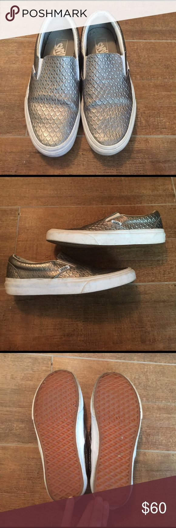 Silver Metallic Leather Vans Slip one Super cute, all leather, metallic silver Vans slip ons. Only worn a couple times. Some dirt in white edges, as shown, should be easy to remove with proper cleaning. Perfect every day shoe with a little bling! vans Shoes Sneakers