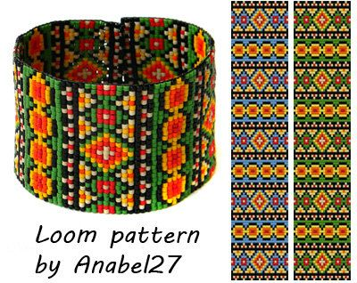 Bead loom pattern - Square stitch pattern -  ethnic style - bracelet pattern  - beaded pattern #93
