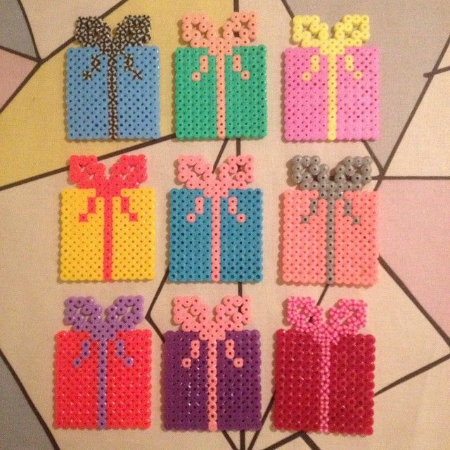 Christmas present ornaments hama perler beads by Michele Bay Olsen