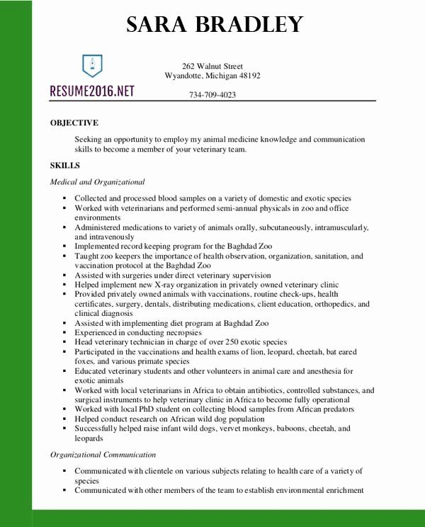 Vet Assistant Resume Example New Resume Examples 2016 Archives Resume 2016 Di 2020