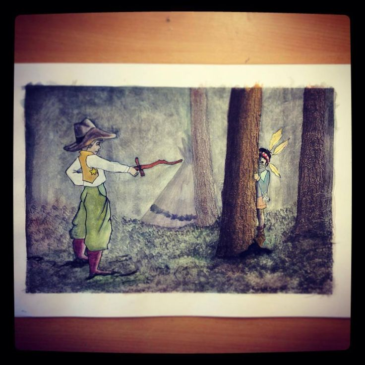 Cowboy and Indian Girl Playing in the Forest - Nursery or young girl/boy´s room Buy your A3 quality print from my etsyshop. Use link: https://www.etsy.com/no-en/shop/Rampestreken Or visit me at https://www.facebook.com/Rampestreken and order through inbox. Painting, drawing and photgraph by Ragnhild Marie Aston Hoddevik. Feel free to make requests, I also make orders:)