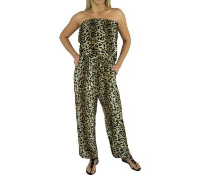 I'm selling Long Brown Elastic Waist Jumpsuit 2 sizes Animal Print - A$59.95 #onselz