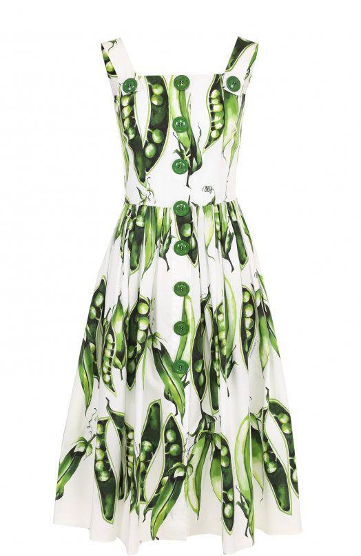 Женское зеленое Хлопковое платье-миди с принтом DOLCE & GABBANA — купить за 107500 руб. в интернет-магазине ЦУМ, арт. F69P1T/FSEGI