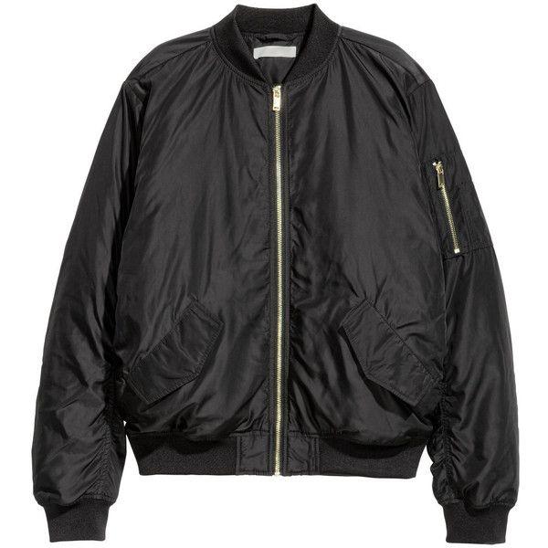 Bomberjakke 199,- ($25) ❤ liked on Polyvore featuring outerwear, jackets, h&m, bomber, h&m jackets, bomber jackets and style bomber jacket