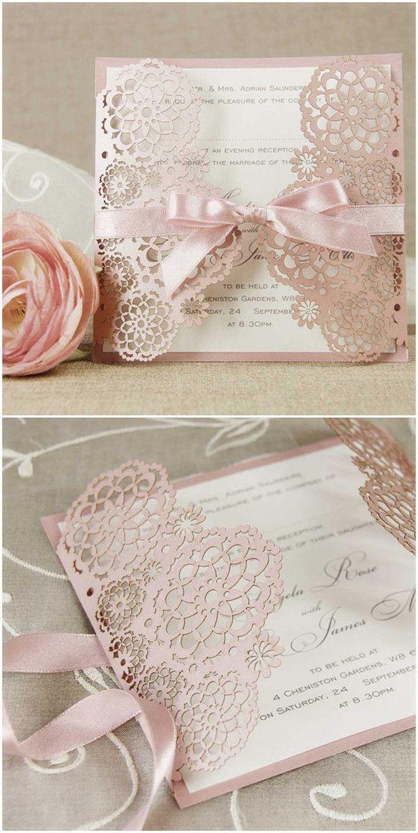 romantische pink Einladungskarten zur Hochzeit mit Schleife und Laser-Ausschnitt #weddinginvitations #pink #lace