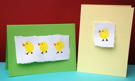 Cute thumb print chick cards for the little one to help make! Great for sending to aunts, uncles and of course grandparents!