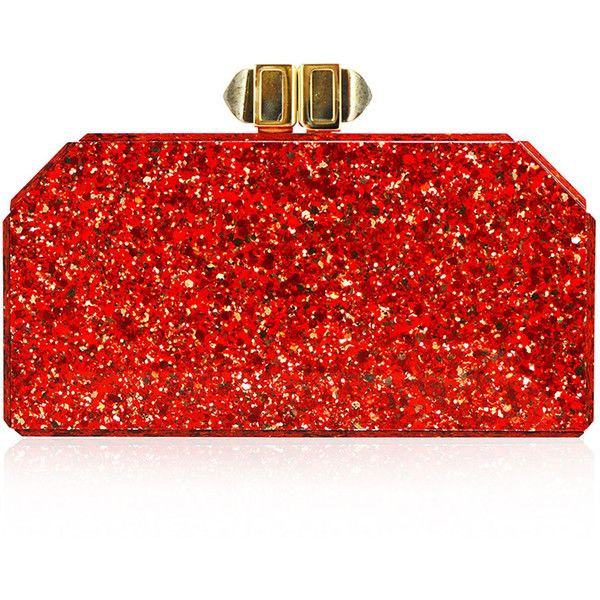 Judith Leiber Couture Faceted Rectangle Clutch Bag ($1,495) ❤ liked on Polyvore featuring bags, handbags, clutches, bolsa, purses, red, special occasion clutches, man bag, evening handbags and chain strap handbags