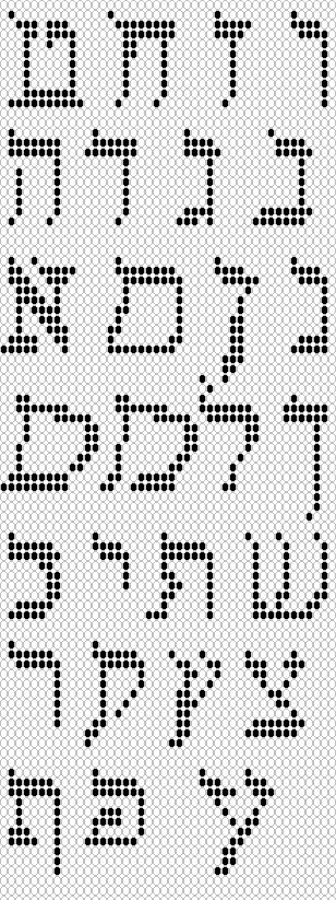 Hebrew Alphabet, loom woven