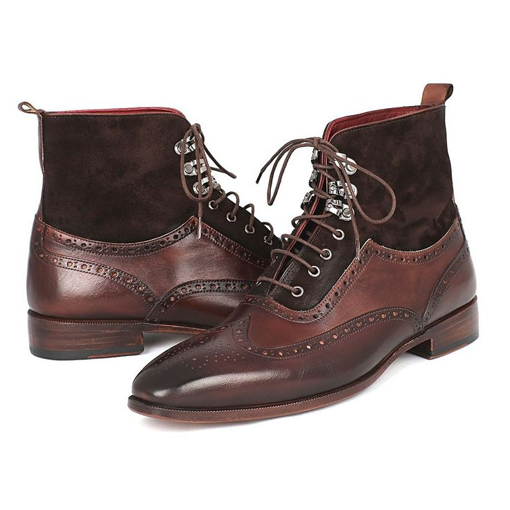 Paul Parkman Men's Wingtip Boots Brown Suede & Calfskin