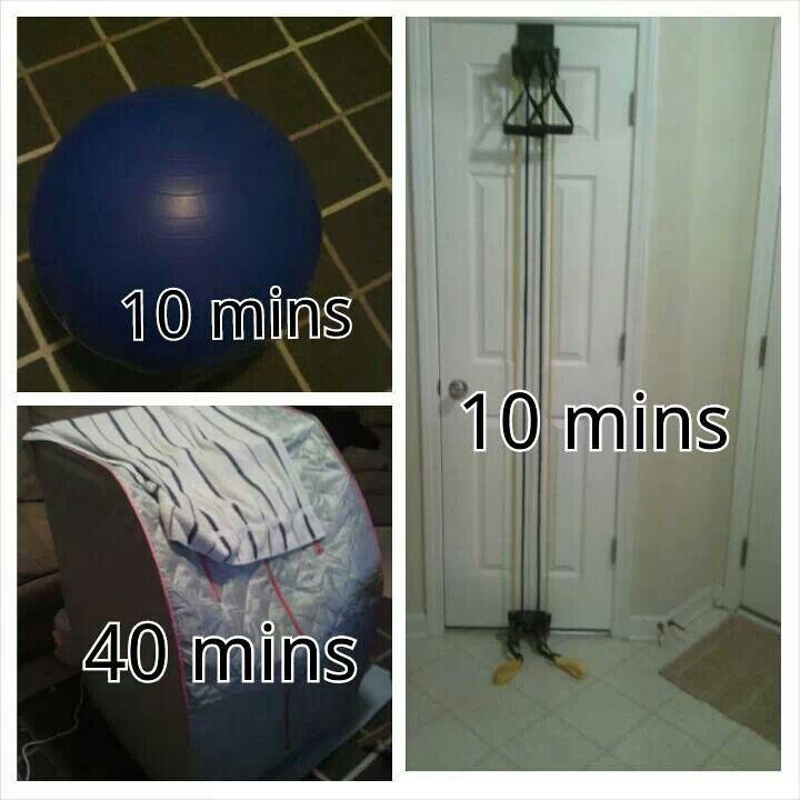 Exercise ball, door gym, sauna...