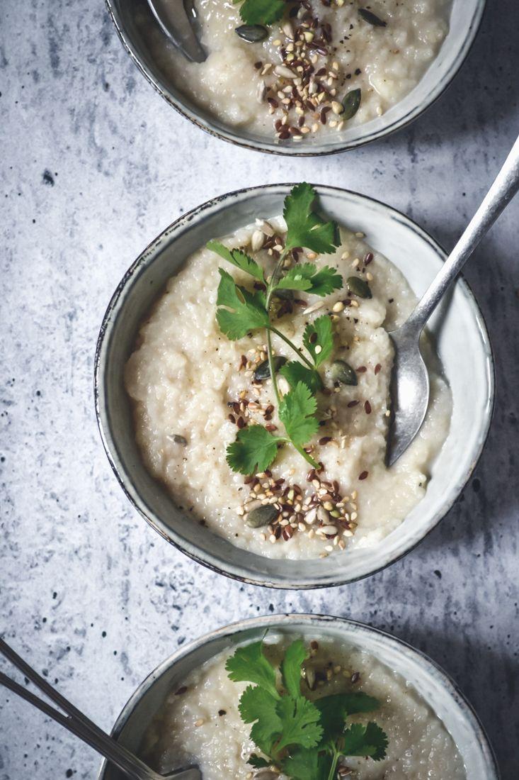 Crème de céleri, riz et noisette