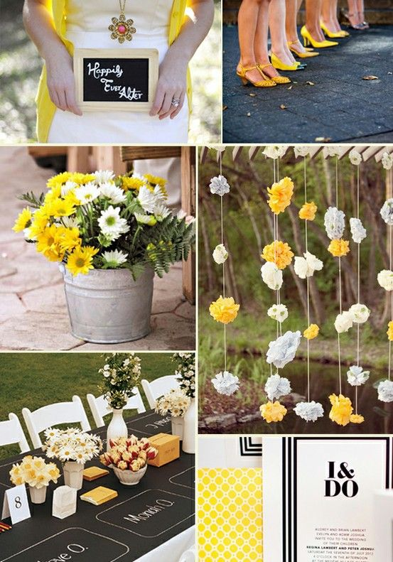 Spring Wedding Flowers - not the yellow, but I like the decor