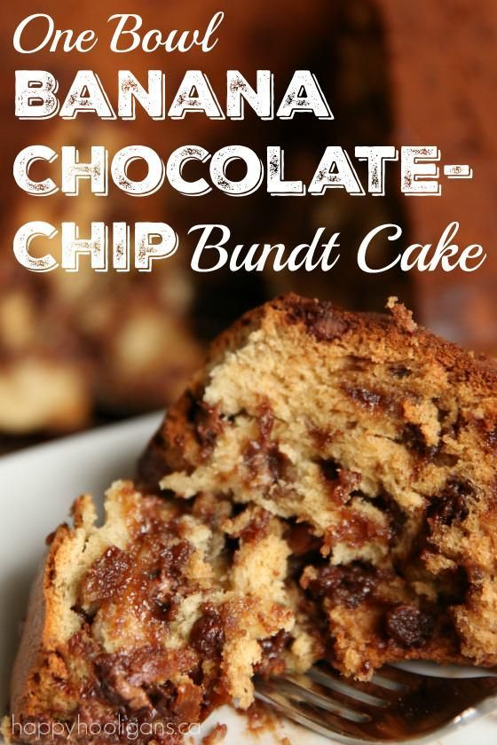 One Bowl Banana Chocolate-Chip Bundt Cake -Super moist, rich and chocolatey, and you only need one bowl to make it!  Happy Hooligans
