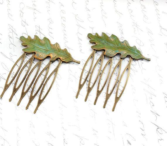 Leaf Hair Comb Oak Leaf Verdigris Green Antique Gold Brass Rustic Woodland Wedding Hair Accessories Pair of Leaves Bridal Accessories