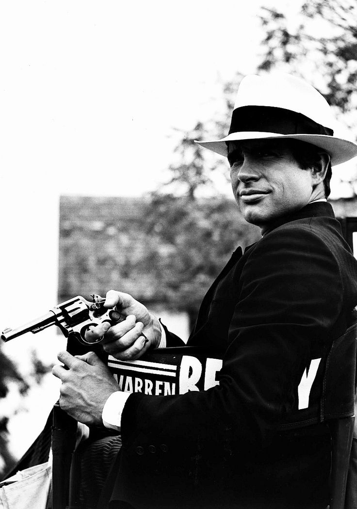 """Warren Beatty on the set of """"Bonnie and Clyde"""", 1967."""