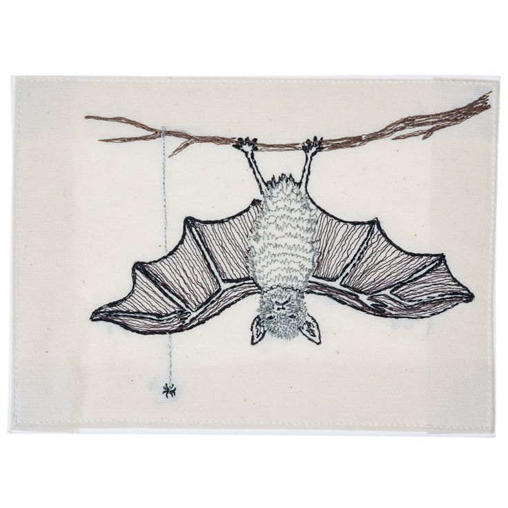 Coral and Tusk - bat embroidered stationery