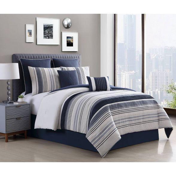 8pc Allen Stripe Comforter Set, Blue Gray Bedding