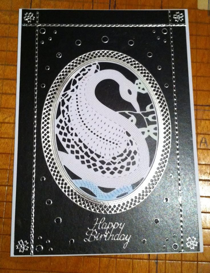 Birthday Card Made By Myself. Using a Swan Diecut.Black card and decor.