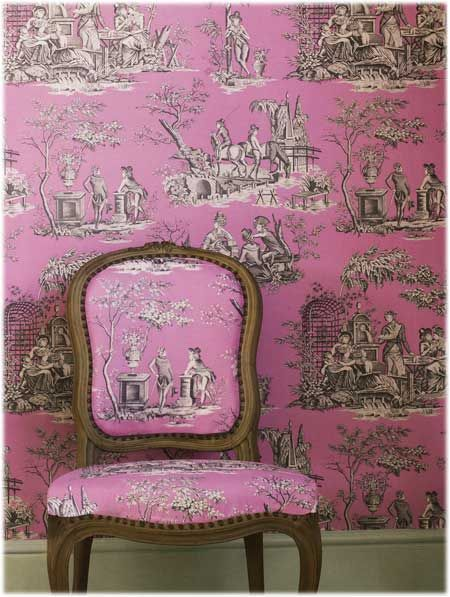 Toile gone mad- our fabric & wallpaper used to perfection.  Mario Buatta would be proud.