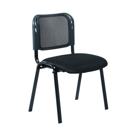Silla Mech $10.000 + IVA  Silla de metal pintado negro con respaldo de malla y asiento tapizado.  Ancho: Largo: Altura: Altura asiento: Color: Negro Material: Metal, tela y malla Apilable: Sí  Código Producto: ASC-006