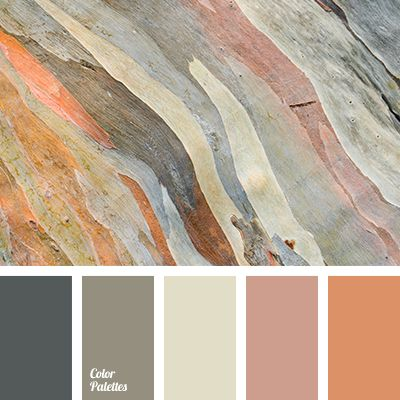 """dusty"" green, bright orange, color match in interior, color solution for kitchen, grey green, grey light green, pastel beige, shades of brown, shades of grey, shades of grey green."