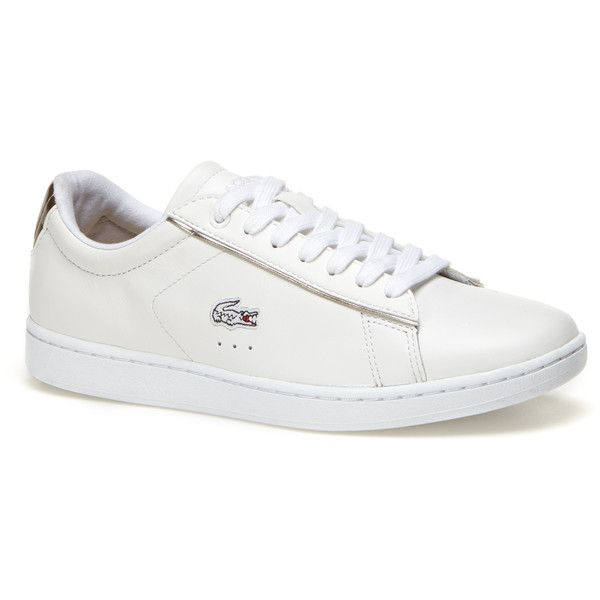 Lacoste Women`s Carnaby Evo Leather Sneakers with Metallic Heel (€84) ❤ liked on Polyvore featuring shoes, sneakers, sports trainer, urban shoes, genuine leather shoes, sport sneakers and lacoste trainers