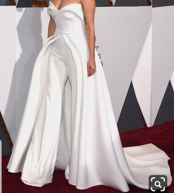White bridal off shoulder jumpsuit with side cape