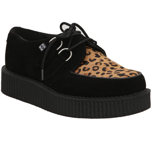 T.U.K. Black Suede & Leopard Cowhair Low Sole Creepers | Hot Topic ($75) ❤ liked on Polyvore featuring shoes, zapatos, creepers, sneakers, kohl shoes, black leopard print shoes, creeper shoes, leopard print shoes and leopard shoes