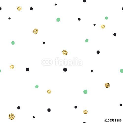 Wektor: Abstract Seamless Pattern on White Background with Black and Gol