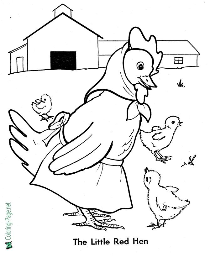 Fairy Tales Little Red Hen Coloring Pages Coloring Pages For Boys Fairy Coloring Book Coloring Pages For Kids