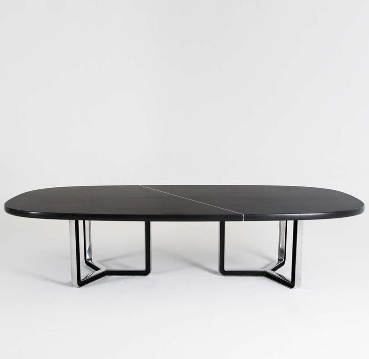 Osvaldo Borsani; Lacquered Wood and Aluminum Conference Table for Tecno, 1950s.