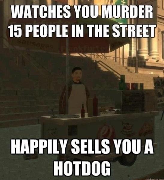 Celui-ci apercoit avec plaisir qu'on tue quinze gens dans la rue, bien qu'il soit content de se vendre un hot dog.