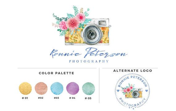 Watercolour Camra Flower   Photography logo  Rontnie by RishuArt