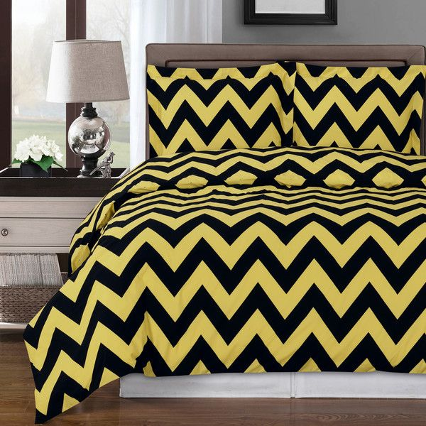 ExceptionalSheets 100% Egyptian Cotton Chevron Duvet Cover Parent... ($74) ❤ liked on Polyvore featuring home, bed & bath, bedding, duvet covers, zigzag bedding, black chevron bedding, black and white chevron bedding, egyptian cotton bedding and gold pillow shams