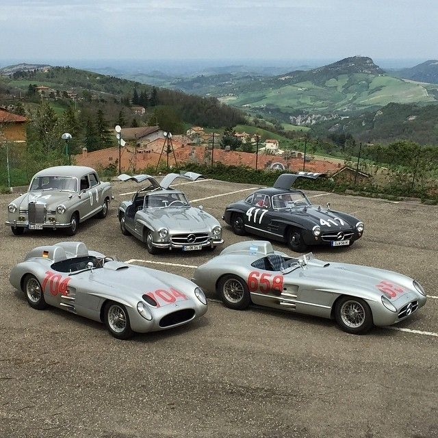 It's a Mille Miglia straight flush! Photo via @mercedesbenzmuseum. Check this feed out for more amazing shots from our Mille Miglia preparations in Italy!  #MBmille #MBclassic #MercedesBenz #MilleMiglia #classic #racingcars #mbcar #straightflush #mbmus #300SLR #300SL #racingcars #180DPonton