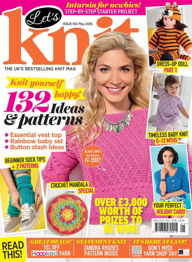 26 best lets knit magazines images on pinterest magazine lets knit issue 105 may 2016 knitting magazinecrochet fandeluxe Gallery