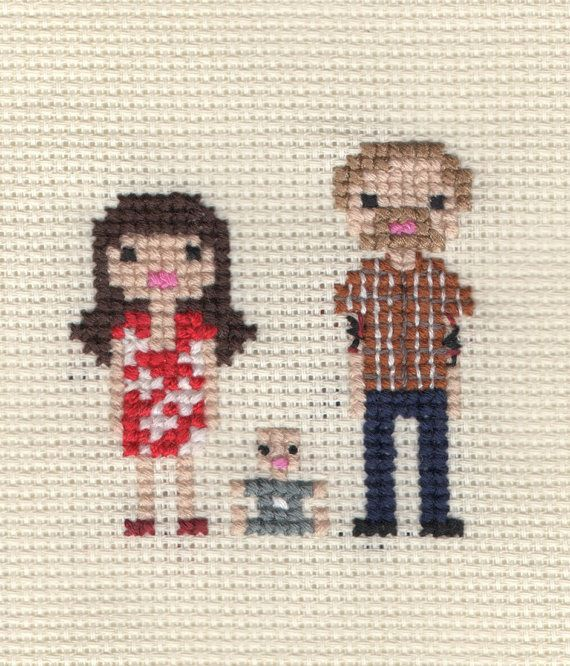 Custom New Baby / Christening Pixel Cross Stitch Portrait (Framed). $40.00, via Etsy.