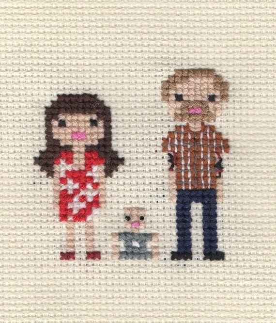 New Baby / Christening Custom Pixel Cross Stitch Portrait (Framed)