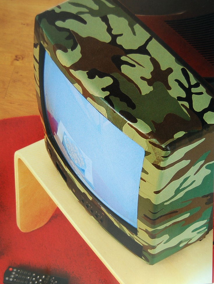 Re-vamped decoupaged with Decopatch.  Army style television.