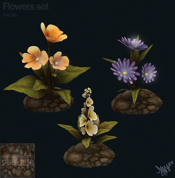 3DOcean Low Poly Flowers Set 5195392