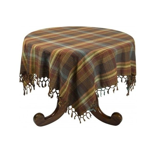 Delightful Tuscan Brown Plaid Tablecloth ❤ Liked On Polyvore Featuring Home, Kitchen U0026  Dining, Table