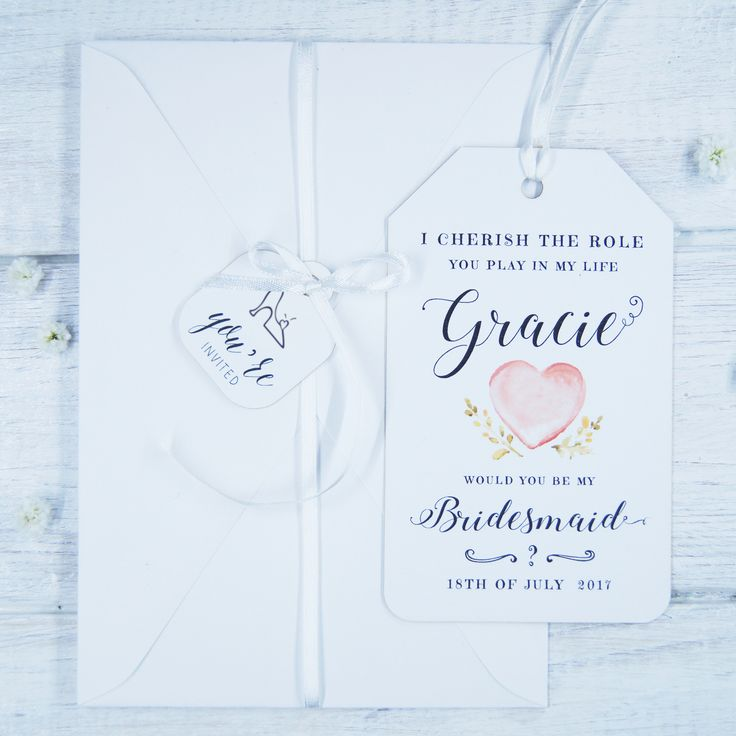 Bridesmaid Invitation Proposal Card  Will you be my Bridesmaid? White Wedding Inspiration