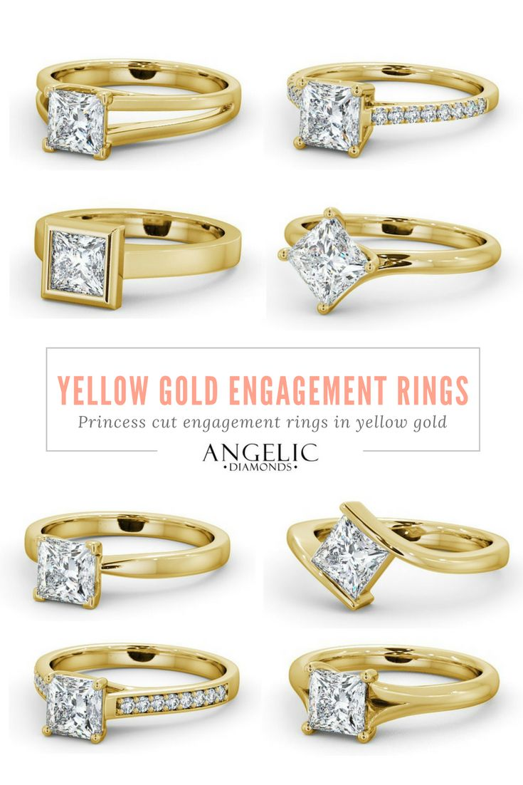These yellow gold engagement rings are the perfect blend of classic and contemporary. Find your perfect princess cut engagement ring today with #AngelicDiamonds and customise it to make it truly your own. #Wedding #Engaged #Engagement #Jewellery #Jewelry #Ring #Rings #EngagementRing #EngagementRings #YellowGold #Gold #Diamond #Diamonds #PrincessCut