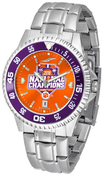Clemson Football National Champions 2016 Men - Competitor Steel AnoChrome Watch - Color Bezel