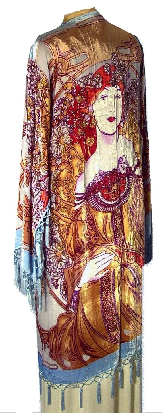 1930's Style Art Deco Silk Velvet Scarf Coat - Camelia. I WANT THIS!!!