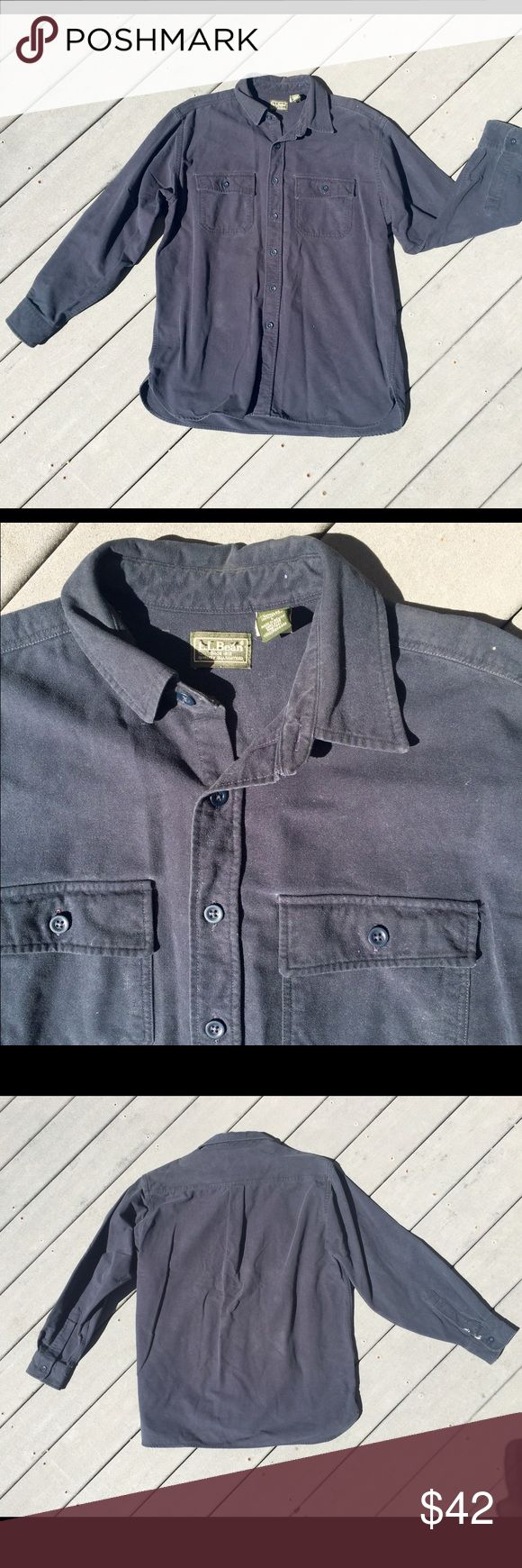 Vintage L.L.Bean Slate-Blue Button Up 100% cotton, authentic LLBean Men's size Large. This is in a great loved/used condition with some white stains on the right sleeve (seen in last pic) & a tiny dot on the left shoulder. Super soft and comfortable, it's almost a corduroy material! The perfect long sleeve shirt for ladies or men! Selling less on my MERC Account :) L.L. Bean Shirts Casual Button Down Shirts