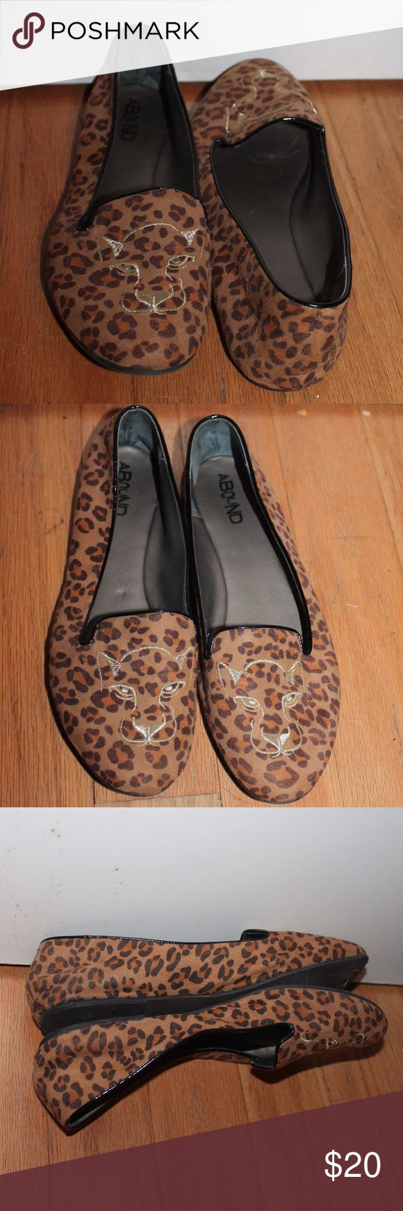 animal print espadrilles loafers cat face toes 🐯 animal print espadrilles with stitched cat face 🐯 size 9M fabric upper synthetic sole made in china by ABOUND LF Shoes