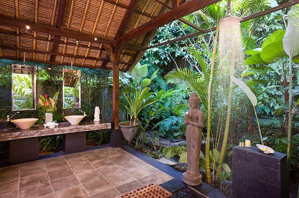 outdoor fabulous bathroom at Waterfall Villa, Bali