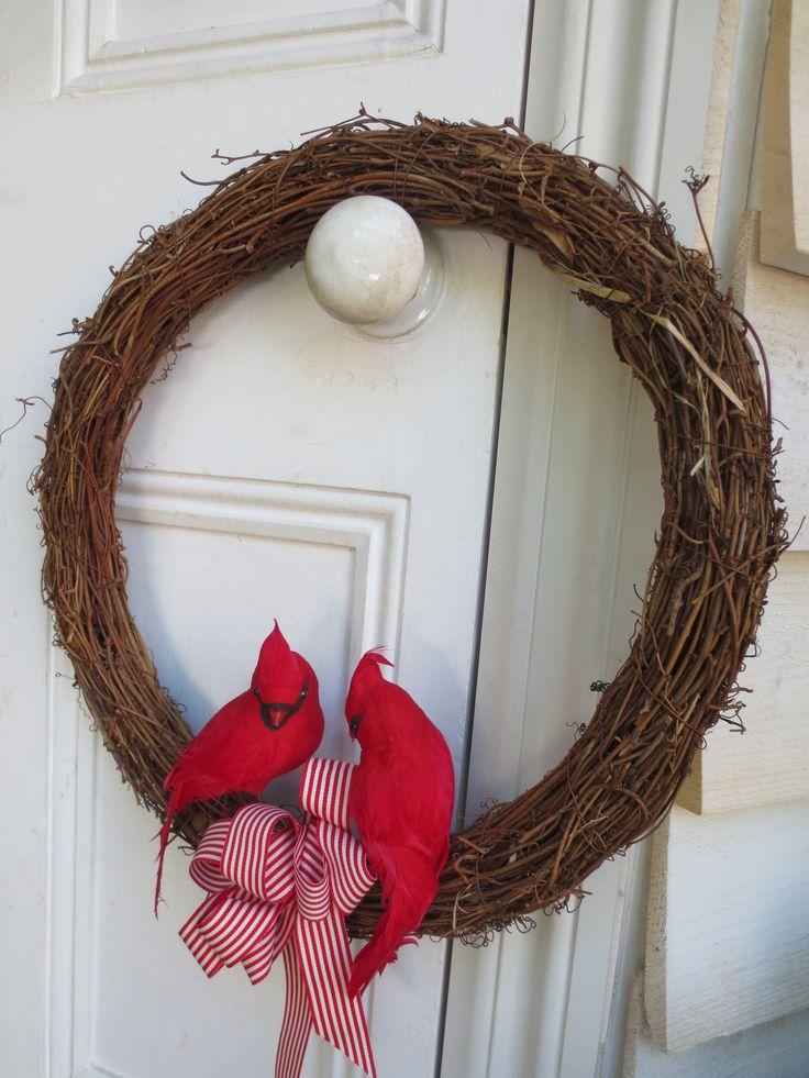 Christmas wreath with Jay birds